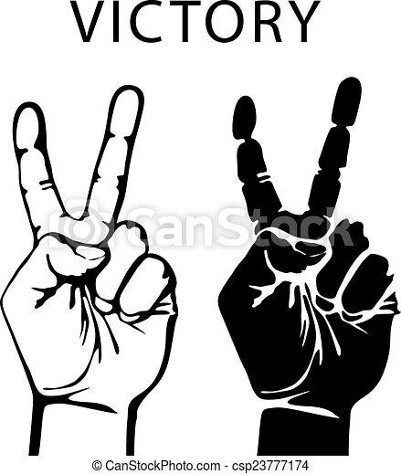 vector illustration hand with victory sign vector vectors rh canstockphoto com vector handicap symbol vector handheld spotlight