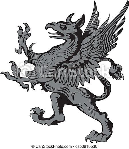 vector illustration heraldic gargoyle or grifon rh canstockphoto com Gothic Architecture Gargoyles Gargoyle Drawings Black and White