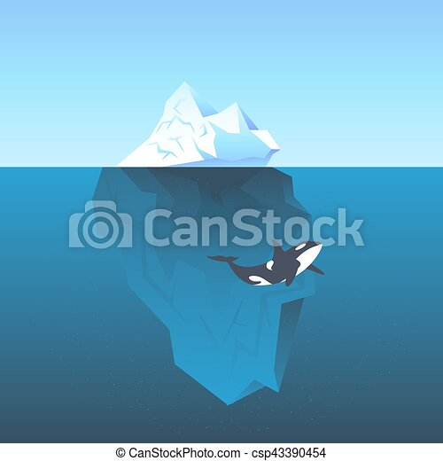 Vector illustration iceberg in the sea and killer whale - csp43390454