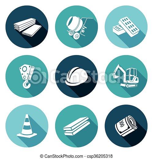 Máquinas de construcción, equipos, íconos materiales. Ilustración de vectores. - csp36205318