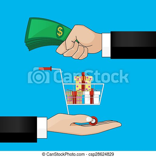 vector illustration in retro style, hand giving money to other hand - csp28624829