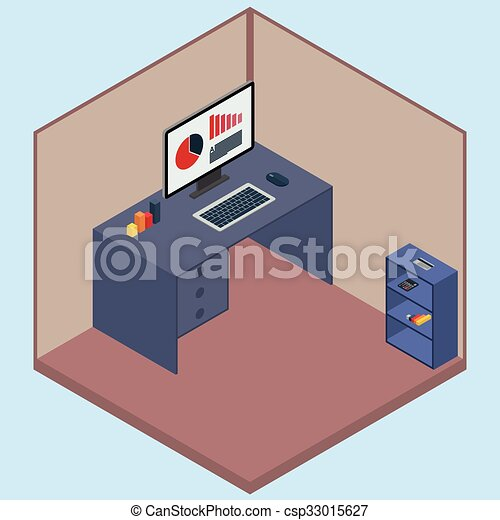 Vector illustration isometric room with a computer - csp33015627