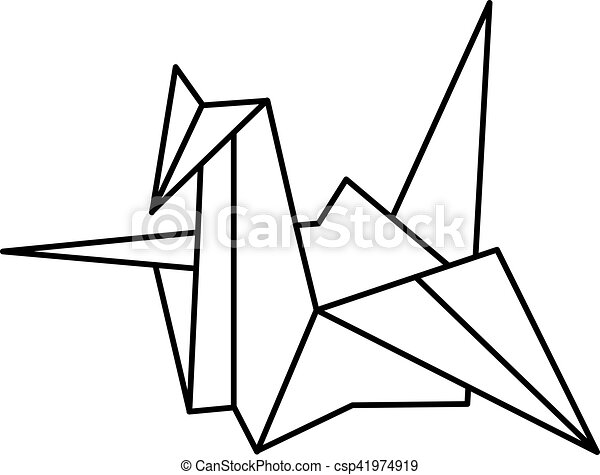 Vector Illustration Japanese Paper Cranes Origami Bird Traditional