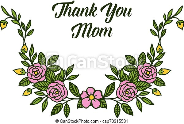 Vector illustration letter thank you mom with ornate of rose flower frame - csp70315531