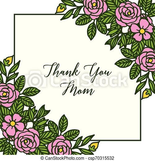 Vector illustration letter thank you mom with ornate of rose flower frame - csp70315532