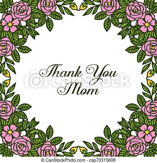 Vector illustration letter thank you mom with ornate of rose flower frame - csp70315608