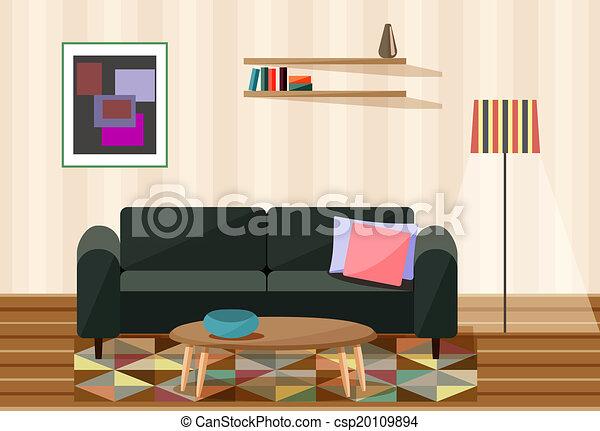 Charming Vector Illustration , Living Room