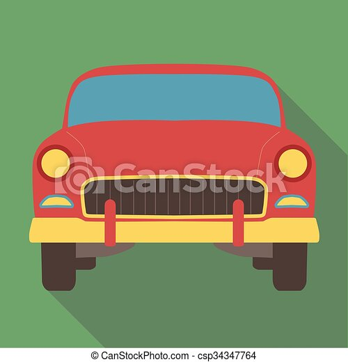 Vector illustration long shadow flat icon of classic american car - csp34347764