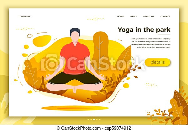 Vector Illustration Man In Yoga Lotus Pose Park Forest Trees And Hills On Background Banner Site Poster Template With