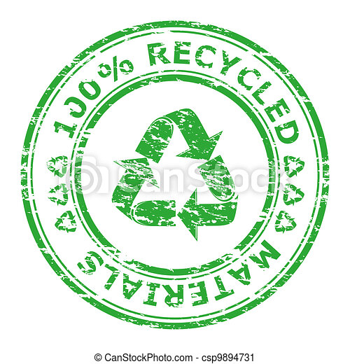 Vector illustration of 100% recycled materials stamp isolated on a white background  - csp9894731