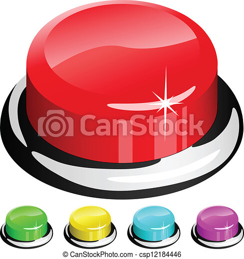 Vector illustration of 3D red button isolated on white - csp12184446