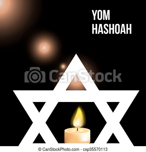 Vector illustration of a background for Yom Hashoah -remembrance Day - csp35570113