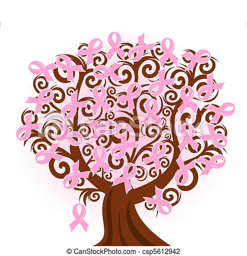 vector illustration of a breast cancer pink ribbon tree - csp5612942
