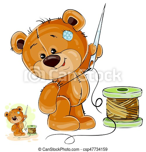 Vector illustration of a brown teddy bear tailor holding in his paw needle and thread, needlework - csp47734159