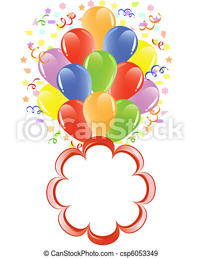 vector illustration of a bunch of balloons with ribbons, confetti and space for text. - csp6053349