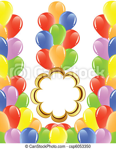 vector illustration of a bunch of balloons with space for text. - csp6053350