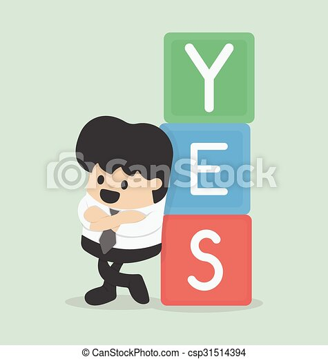Vector illustration of a businessman with YES - csp31514394