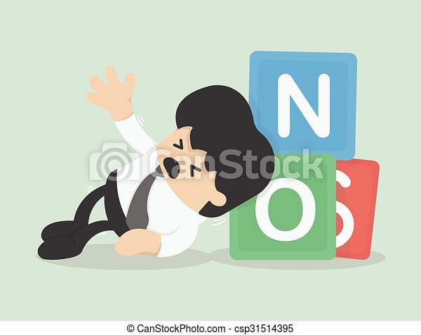 Vector illustration of a businessman with NO - csp31514395