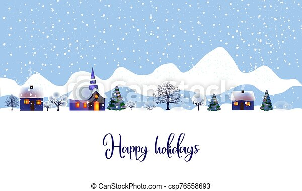 Vector illustration of a christmas landscape. Beautiful winter landscape with houses and a church, trees and bushes in the snow - csp76558693