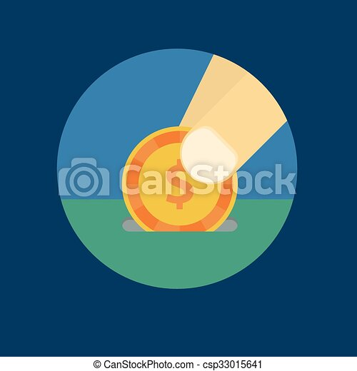Vector illustration of a coin in his hand - csp33015641