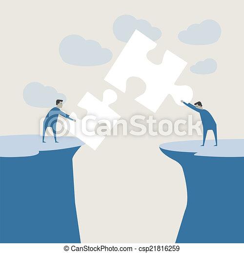 Vector illustration of a creative young cartoon businessman and light bulb - csp21816259