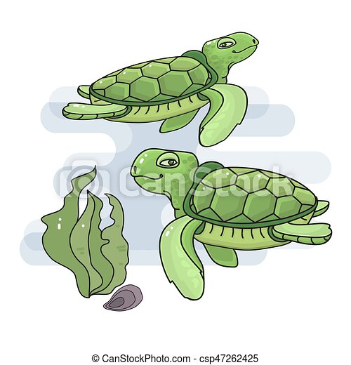 Vector Illustration Of A Cute Cartoon Sea Turtle Green Turtles In
