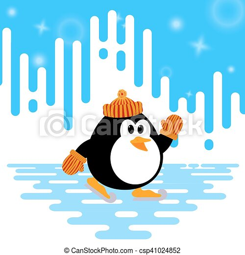 vector illustration of a cute little penguin ice skating on rh canstockphoto com