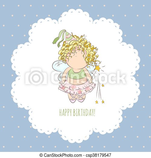 vector illustration of a fairy with magic stick  congratulations card