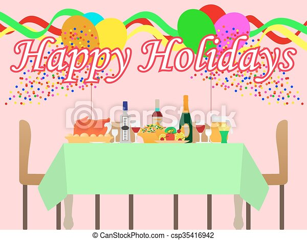 Vector illustration of a festive table - csp35416942
