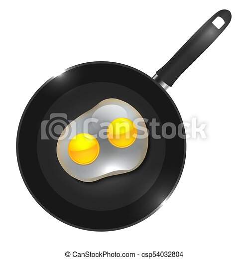 Vector illustration of a frying pan with omelette view from above - csp54032804