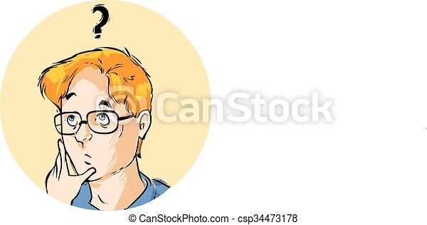 vector illustration of a illustration of a young boy thinking - csp34473178