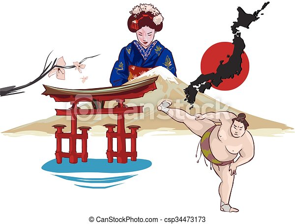 vector illustration of a japan - csp34473173