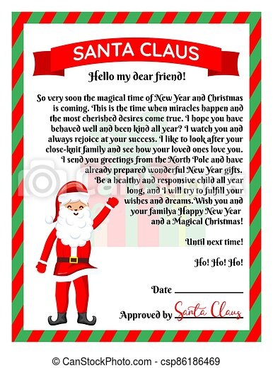 Vector illustration of a letter from Santa Claus. - csp86186469