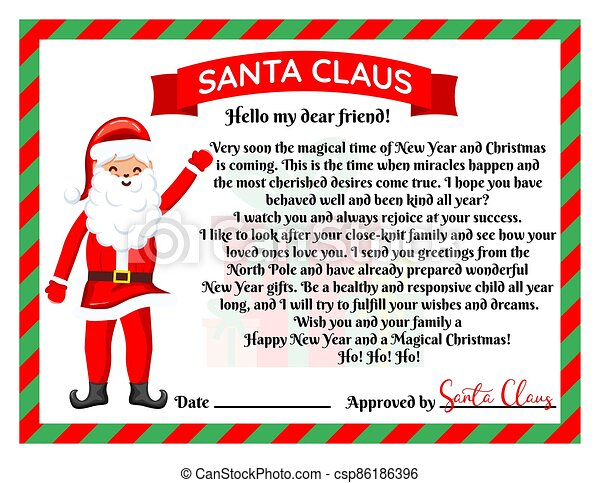 Vector illustration of a letter from Santa Claus. - csp86186396