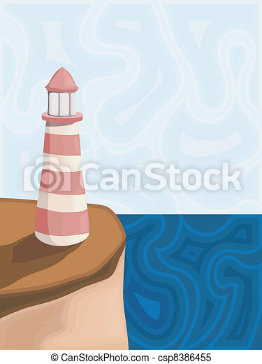 Vector illustration of a lighthouse - csp8386455
