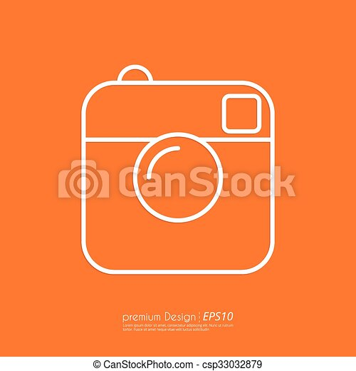 Vector illustration of a linear camera icon. - csp33032879