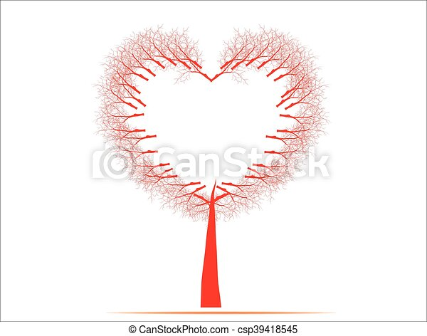 Vector illustration of a love tree having heart shapes in red on isolated background for Valentines Day and other occasions. - csp39418545