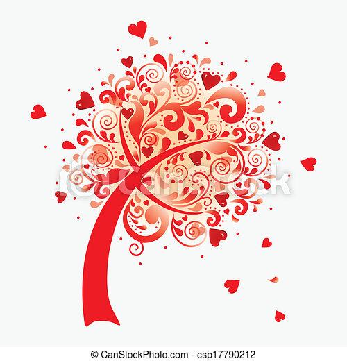 Vector illustration of a love tree. Valentines postcard. - csp17790212