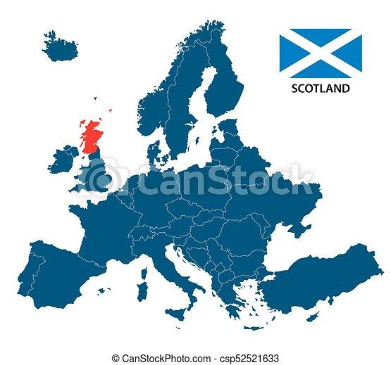 scotland on map of europe Vector Illustration Of A Map Of Europe With Highlighted Scotland