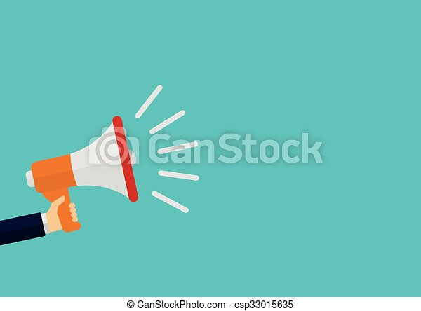 Vector illustration of a megaphone in his hand - csp33015635