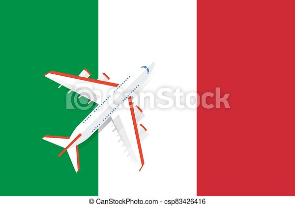 Vector Illustration of a passenger plane flying over the flag of Italy. - csp83426416