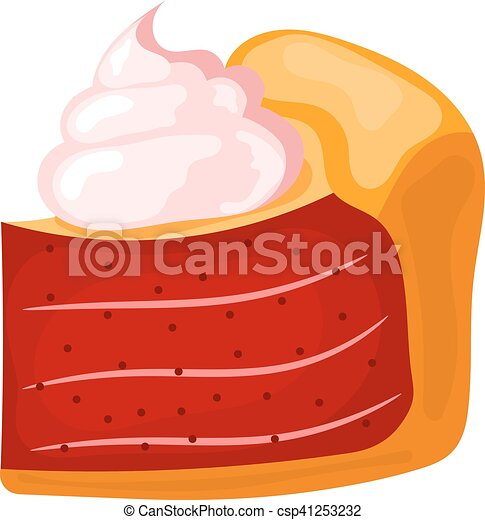 Vector illustration of a piece of cake with cream on a white background. Cartoon cake with - csp41253232