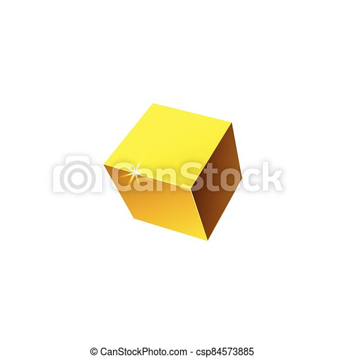 Vector illustration of a realistic 3D cube isolated on a white background. - csp84573885