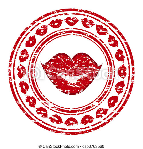 Vector illustration of a red grunge rubber stamp with lips isolated on white background - csp8763560