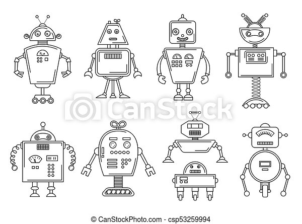 Vector illustration of a robot. mechanical character design. set of ...