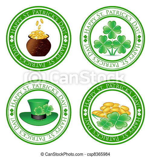 vector illustration of a set of green stamps with four leaf clover shape, pot, gold coins, leprechaun hat and the text Happy St. Patrick's Day written inside the stamp - csp8365984