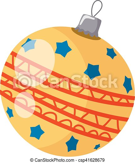 Vector illustration of a simple yellow Christmas ball on a white background. Cartoon style - csp41628679
