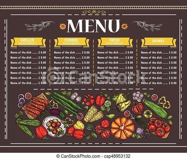 Vector illustration of a vegetarian restaurant menu design - csp48953132