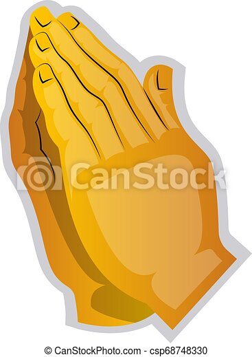 Vector illustration of a yellow hands praying on a white background - csp68748330