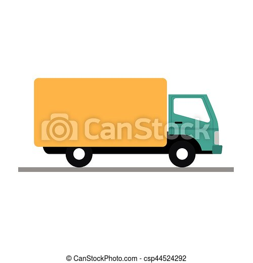 vector illustration of a yellow truck on white background - csp44524292